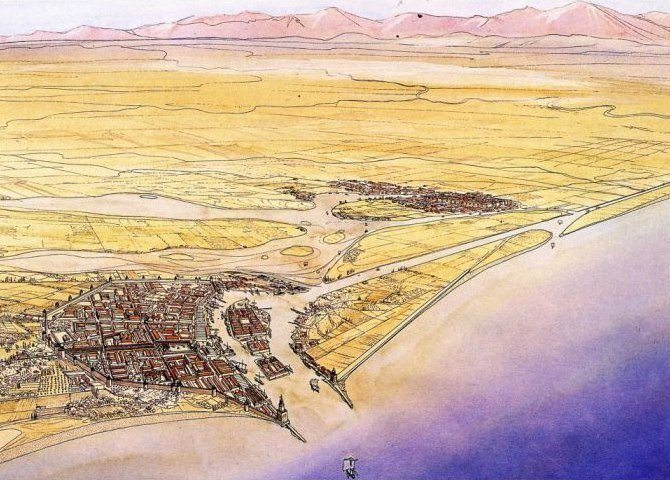 La città portuale di Classe e, sullo sfondo, Ravenna nel VI secolo d. C. (disegno ricostruttivo di Jean-Claude Golvin)